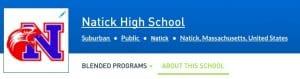 Natick High School Blended Learning Profile Header